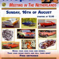 Flyer-ontwerp eerste Moparmeeting in Nederland 1998